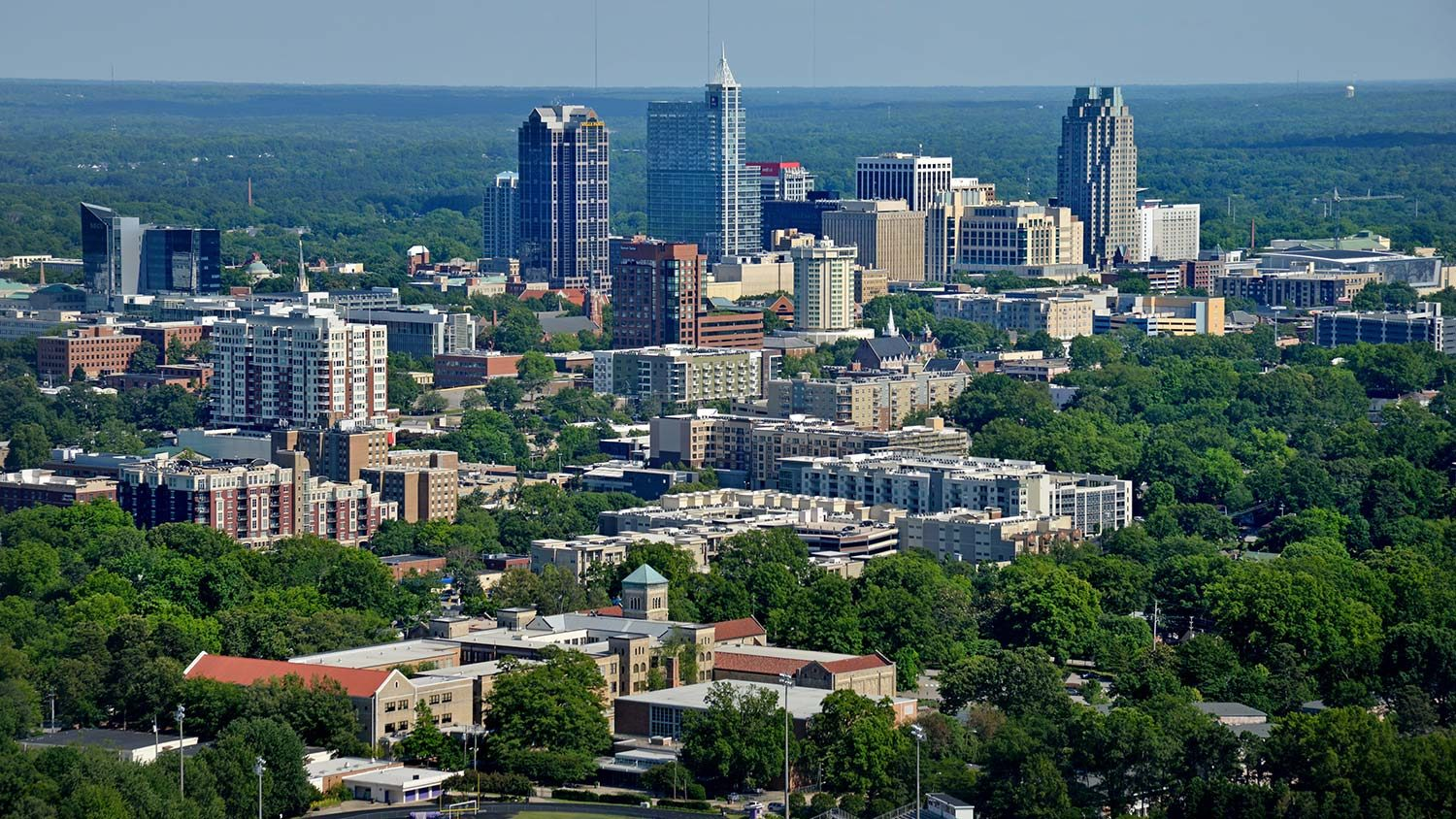 Aerial Shot Raleigh Downtown
